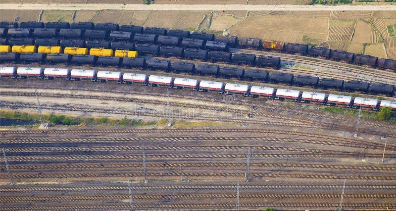 Vue aérienne au-dessus du chemin de fer photographie stock