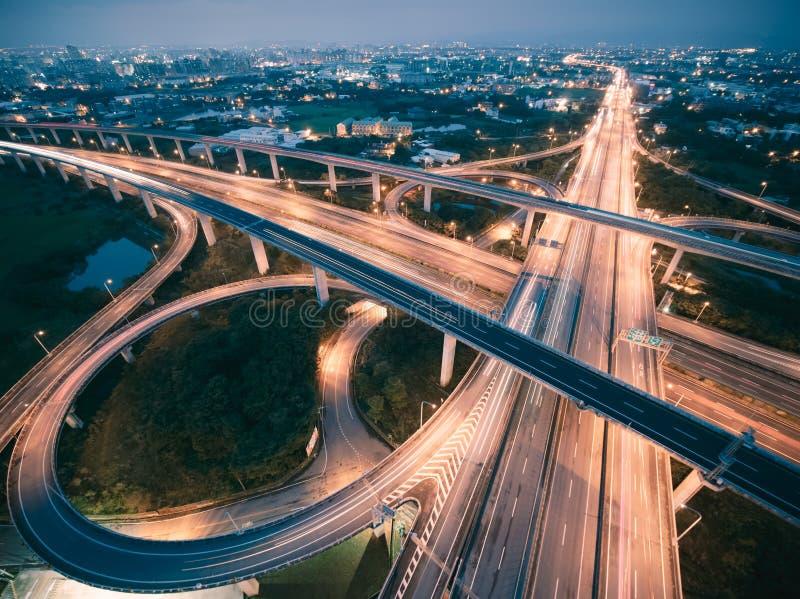 Vue aérienne d'échange de route - transportez l'image de concept photographie stock