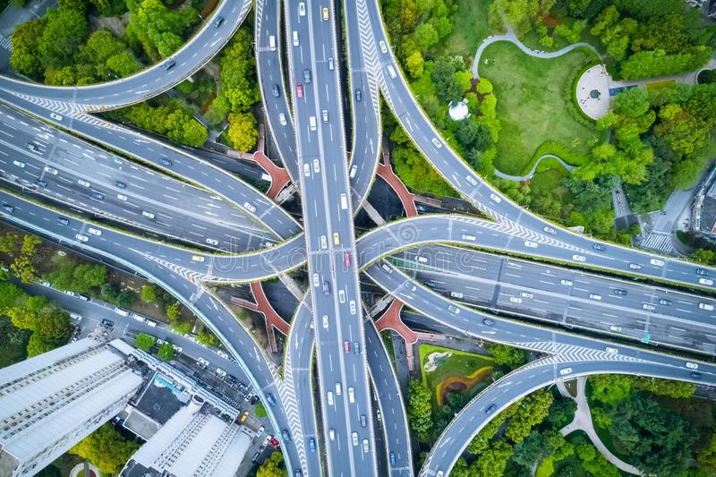 Vue aérienne d'échange de ville images libres de droits