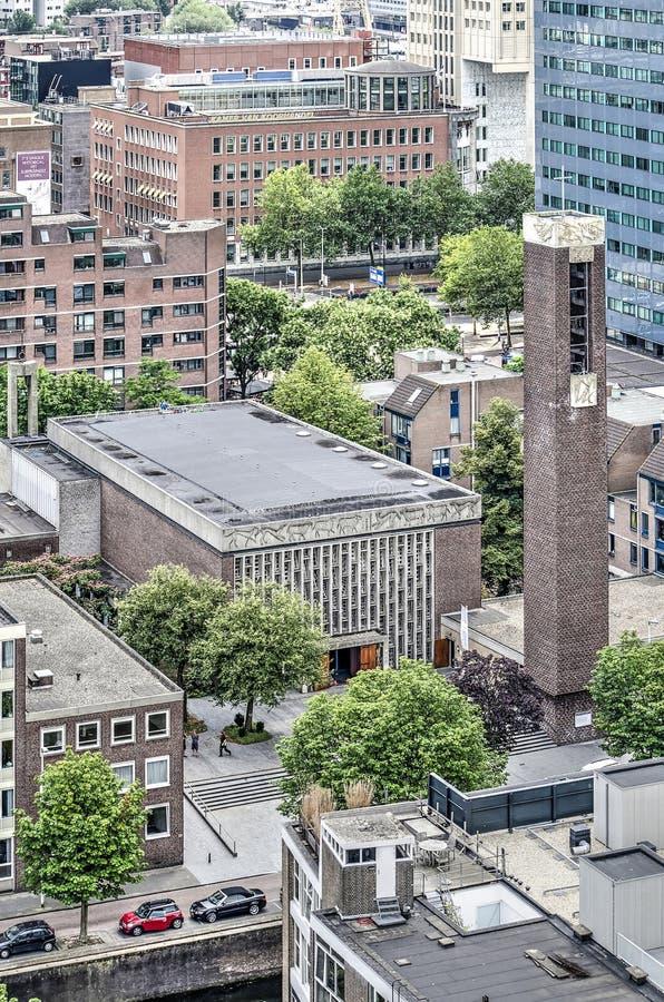 Vue aérienne d'église de Steigerkerk photographie stock libre de droits
