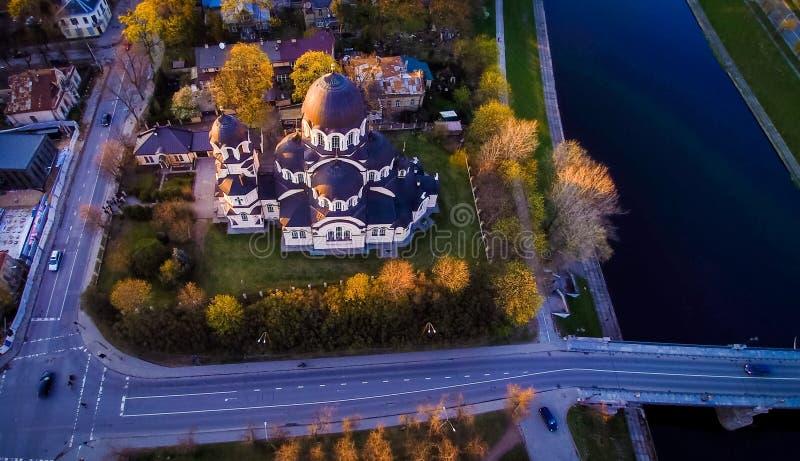 Vue aérienne d'église de Vilnius image libre de droits