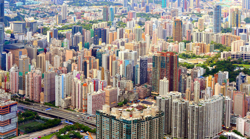 Vue aérienne d'île de Kowloon, Hong Kong images libres de droits