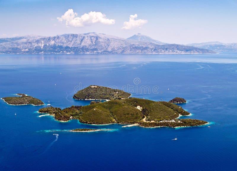 Vue aérienne d'île de Skorpios photos stock