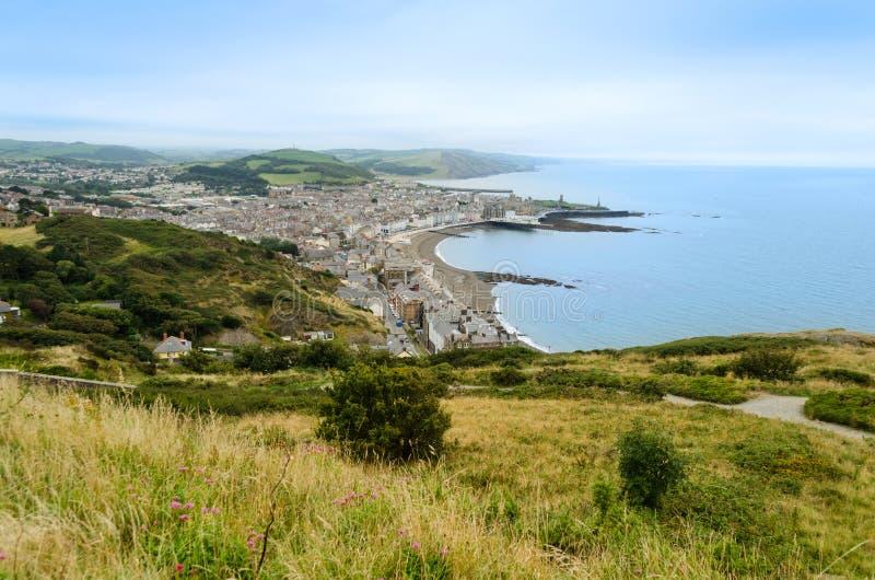 Vue aérienne d'Aberystwyth - le Pays de Galles, Royaume-Uni image libre de droits