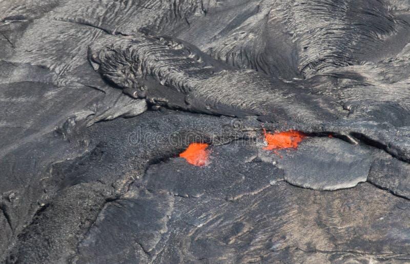 Vue aérienne d'activité volcanique au volcan de Kilauea image libre de droits