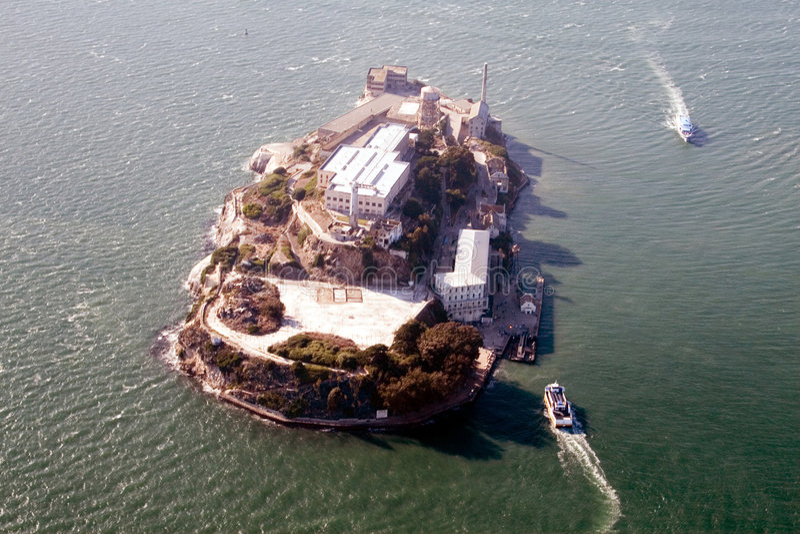 Vue aérienne d'Alcatraz photo stock