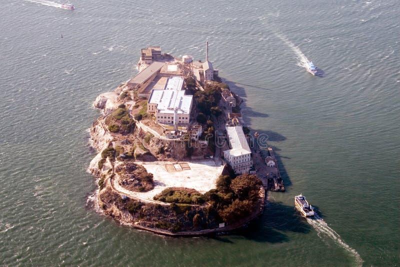 Vue aérienne d'Alcatraz photos stock