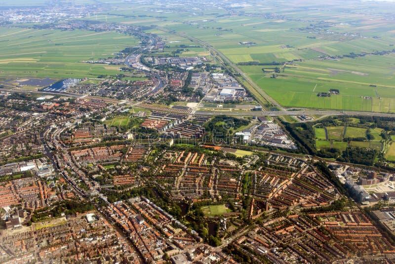 Vue aérienne d'Amsterdam d'avion photos libres de droits