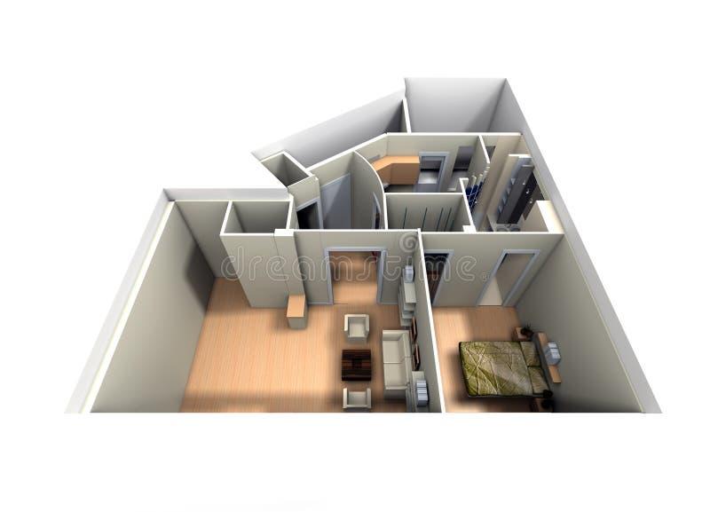 Vue aérienne d'apartm roofless illustration de vecteur