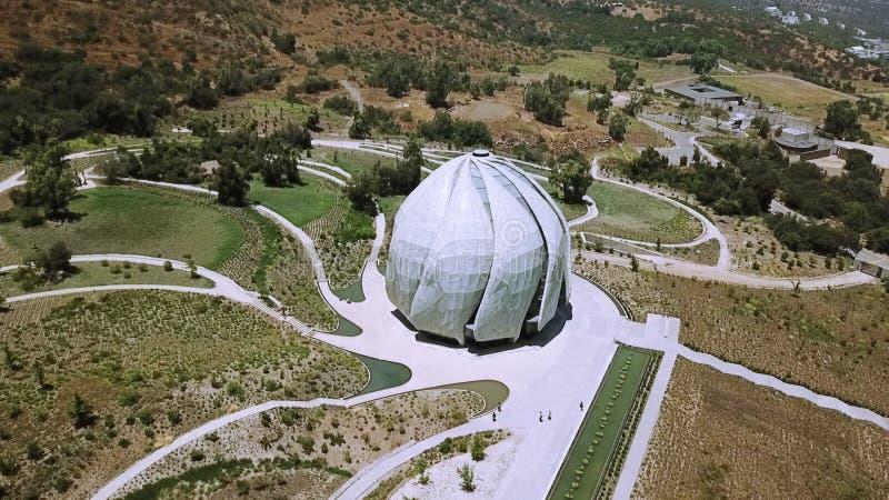 Vue aérienne d'architecture de temple de Bahai au Chili photos stock