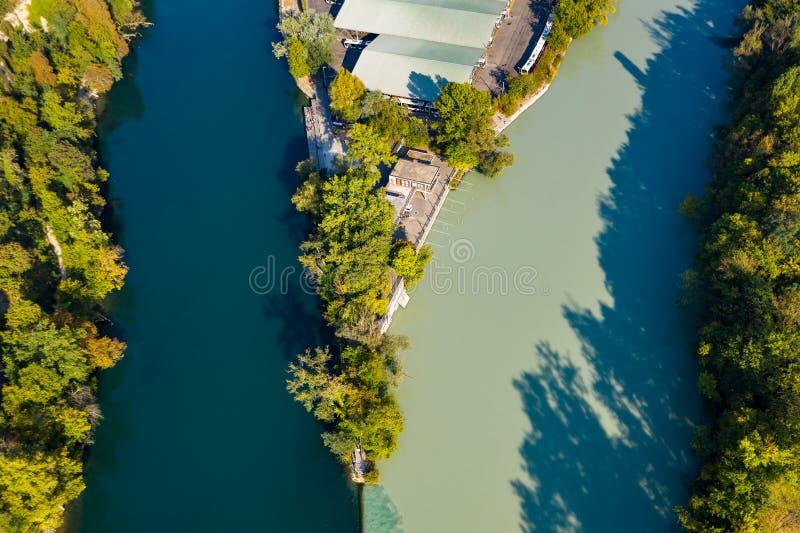 Vue aérienne d'Arve un Rhône confluent à Genève Switzerl images stock