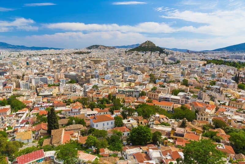 Vue aérienne d'Athènes d'Acropole, Grèce images libres de droits