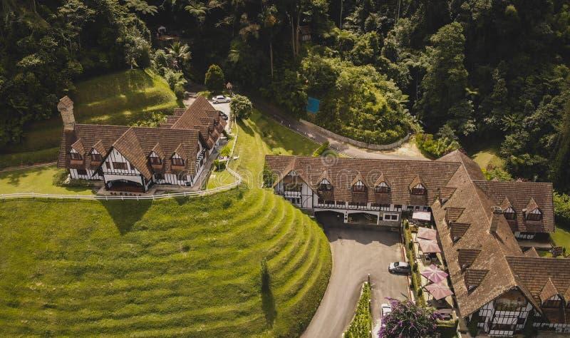 Vue aérienne d'hôtel et de restaurant de fumoir image stock