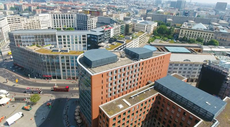 Vue aérienne d'horizon de Berlin de Potsdamer Platz, Allemagne photographie stock libre de droits