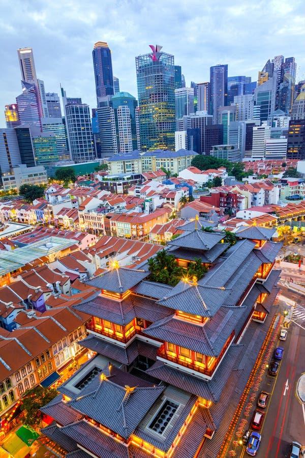Vue aérienne d'horizon de Singapour dans Chinatown images stock