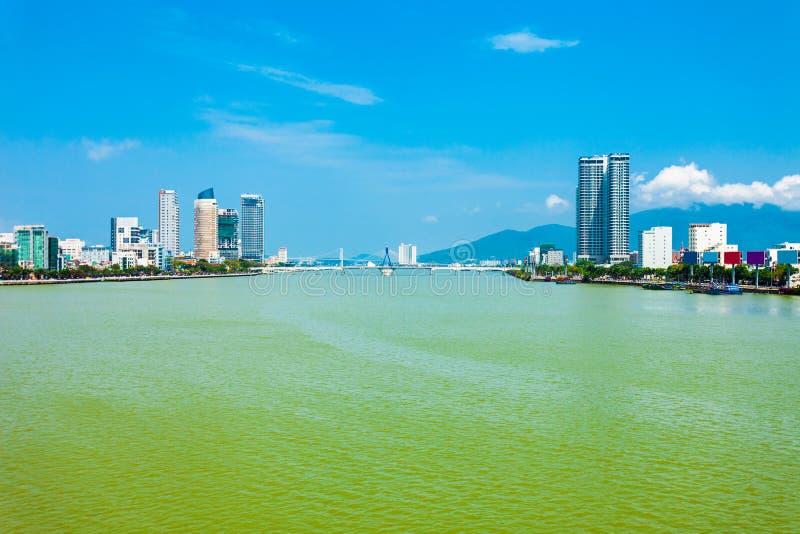 Vue aérienne d'horizon de ville de Danang photos stock