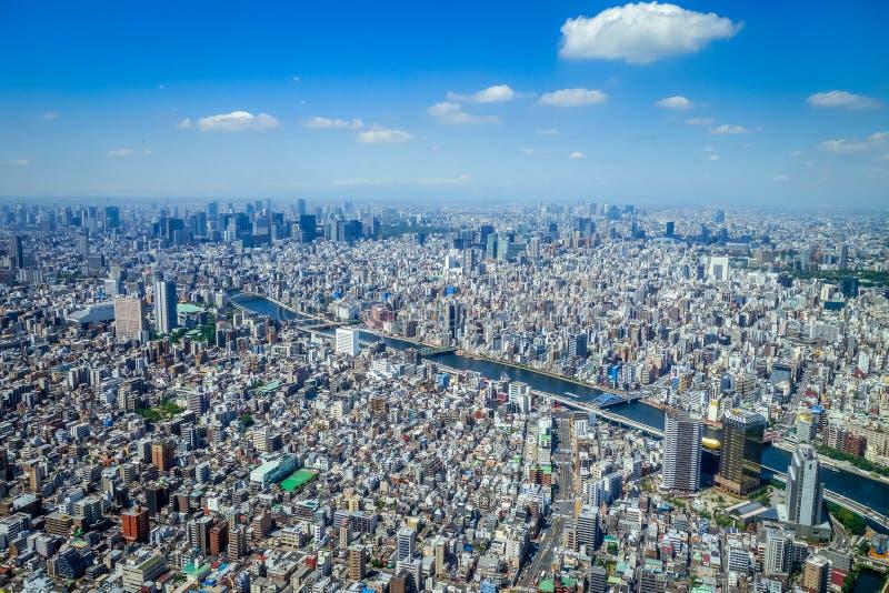 Vue aérienne d'horizon de ville de Tokyo, Japon photos libres de droits