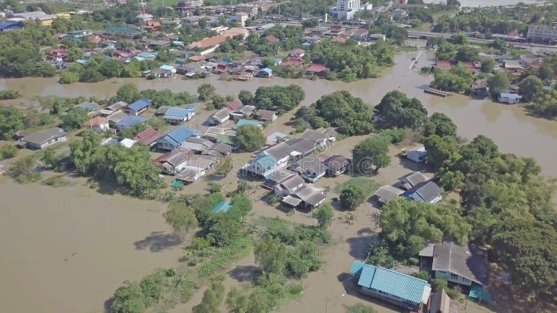 Vue aérienne d'inondation en Thaïlande photo libre de droits