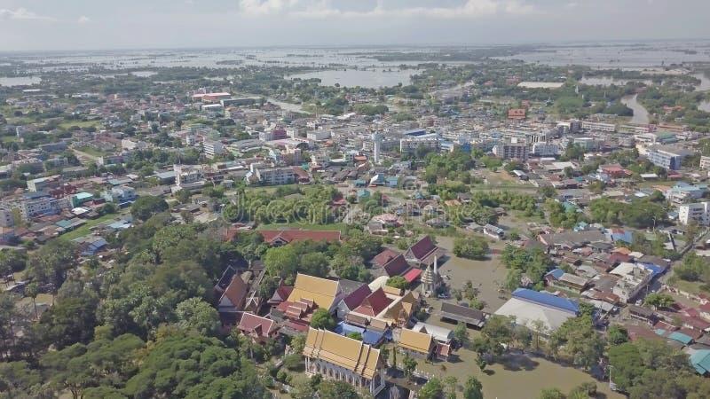 Vue aérienne d'inondation en Thaïlande image libre de droits