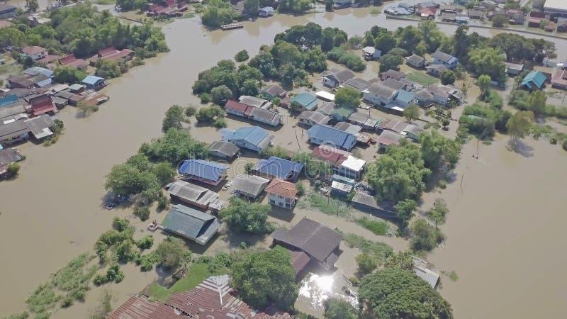 Vue aérienne d'inondation en Thaïlande images stock