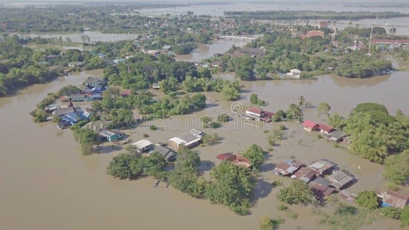 Vue aérienne d'inondation en Thaïlande images libres de droits