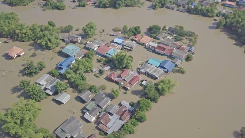Vue aérienne d'inondation en Thaïlande photographie stock libre de droits