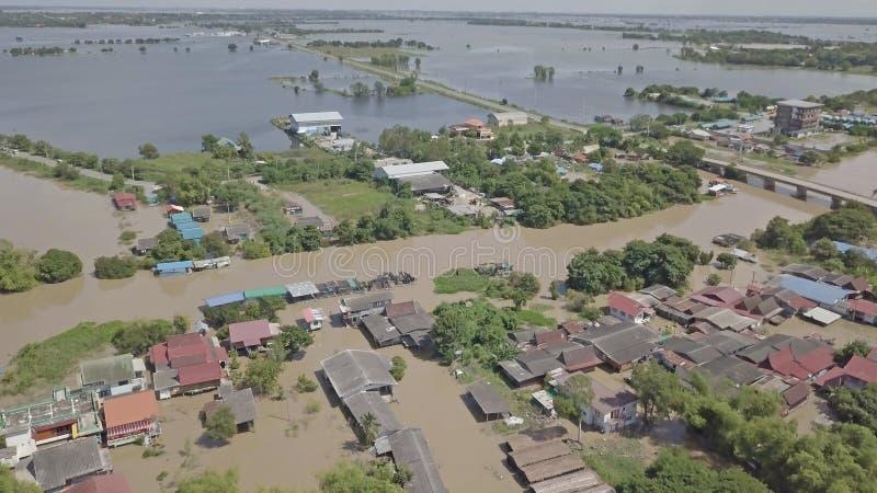 Vue aérienne d'inondation en Thaïlande photographie stock