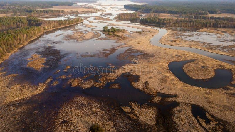 Vue aérienne d'inondation sur le zone inondable Vue de rivi?re d'en haut photos libres de droits