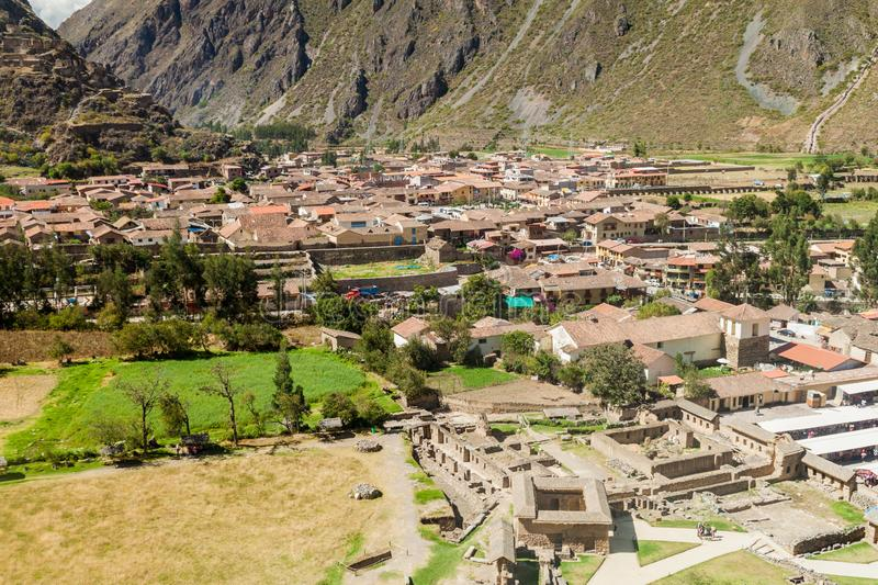 Vue aérienne d'Ollantaytambo photo stock