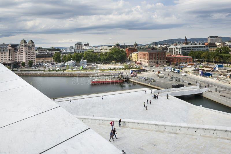 Vue aérienne d'Oslo du théatre de l'opéra image libre de droits