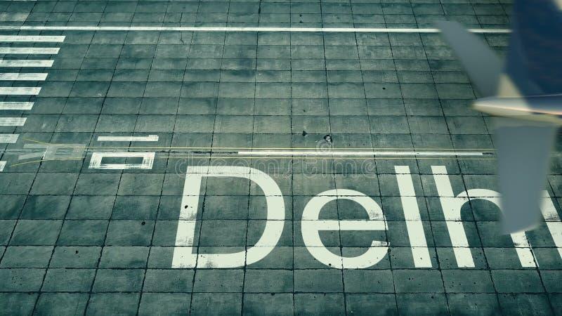 Vue aérienne d'un avion arrivant à l'aéroport de Delhi Voyage au rendu de l'Inde 3D illustration de vecteur