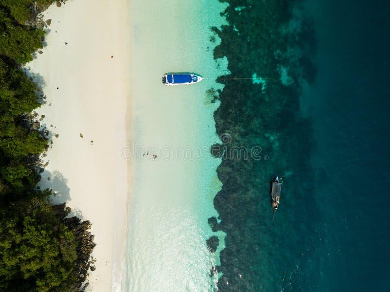 Vue aérienne d'un bourdon de belle plage de Madame chez Nyaung Oo image libre de droits