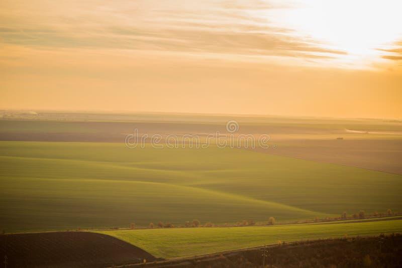 Vue aérienne d'un champ vert illimité au coucher du soleil image libre de droits