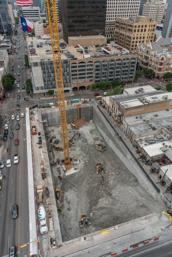 Vue aérienne d'un chantier de construction dans Austin du centre, le Texas images stock