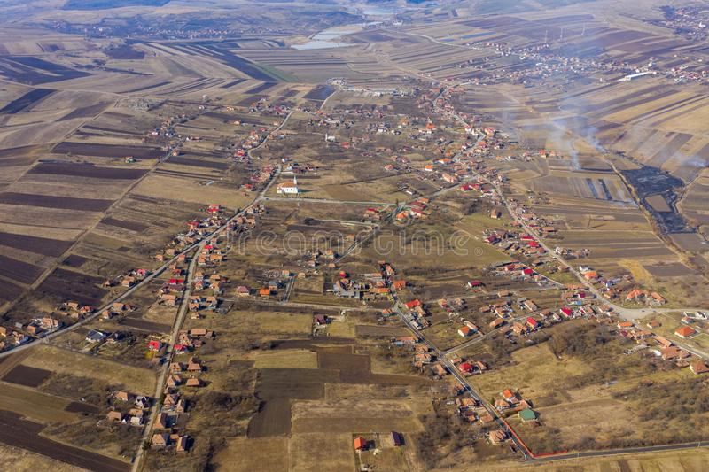 Vue aérienne d'un village photo stock