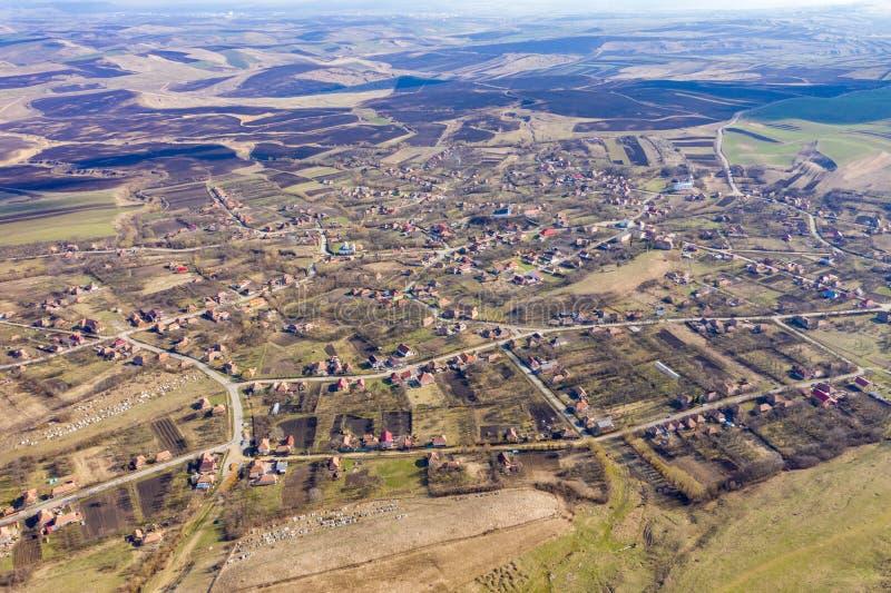 Vue aérienne d'un village image libre de droits