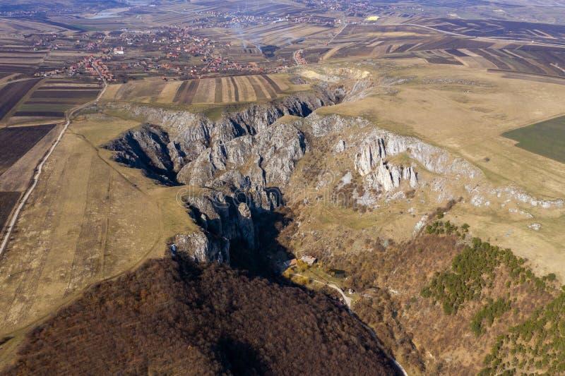 Vue aérienne d'une gorge photo stock