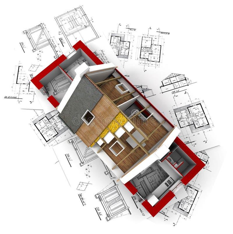 Vue aérienne d'une maison roofless sur le bluep d'architecte image stock