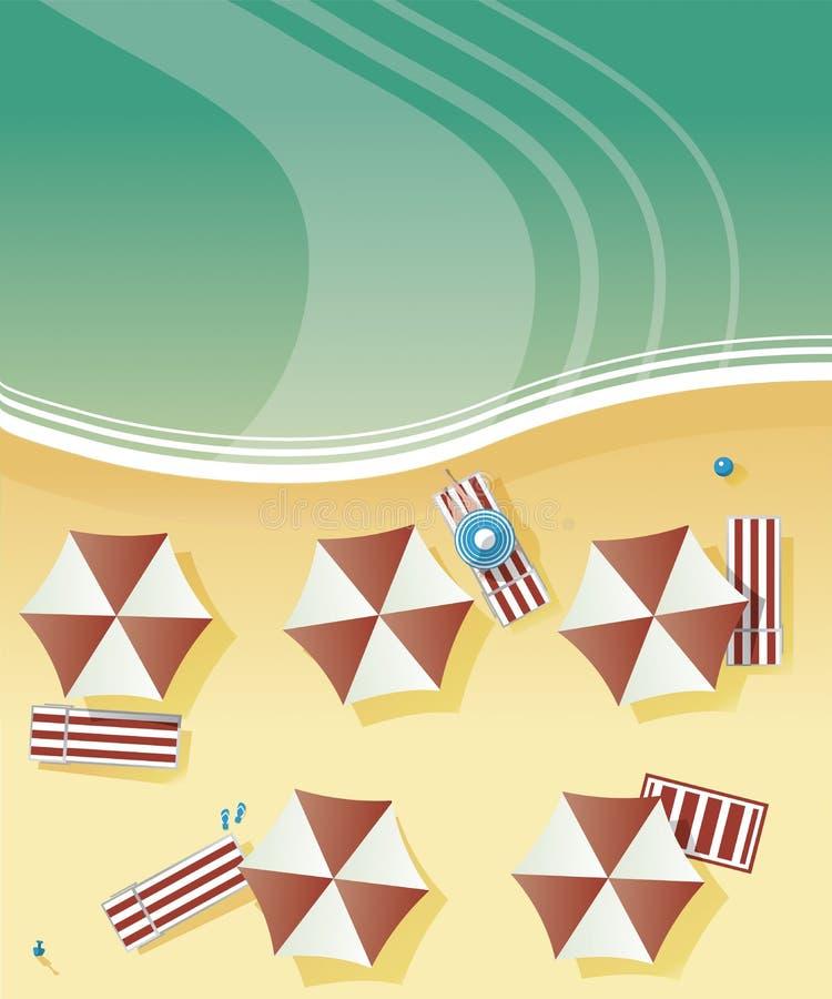 Vue aérienne d'une plage avec des baigneurs, avec des chaises de plate-forme et des parapluies par la mer, océan illustration stock