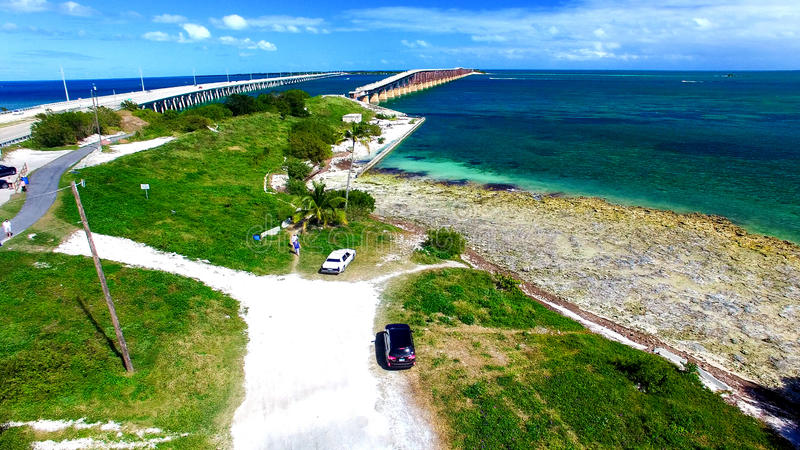 Vue aérienne de Bahia Honda State Park Bridges, la Floride - Etats-Unis image stock