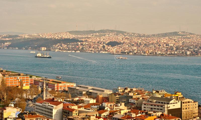 Vue aérienne de baie d'or de klaxon, Istanbul photo stock
