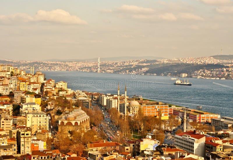 Vue aérienne de baie d'or de klaxon, Istanbul photos libres de droits