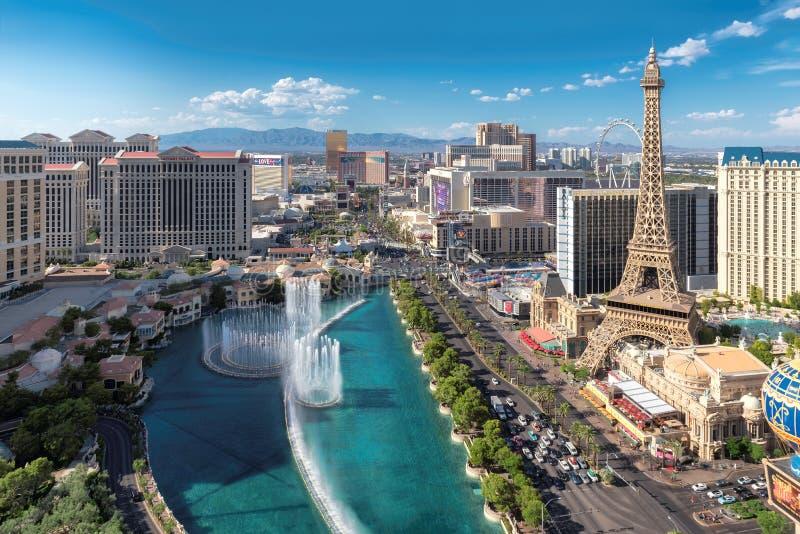 Vue aérienne de bande de renommée mondiale de Las Vegas images libres de droits