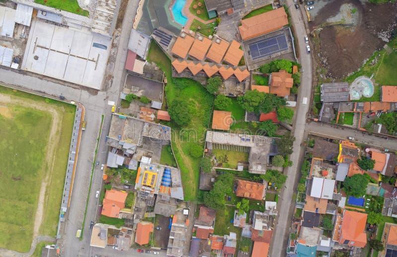 Vue aérienne de Banos de Agua Santa, Equateur photos libres de droits