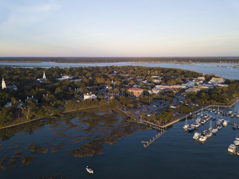 Vue aérienne de beaufort, la Caroline du Sud photographie stock
