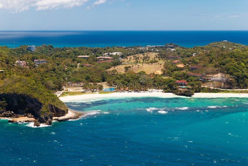 Vue aérienne de belle baie en île tropicale Île de Boracay, photos stock