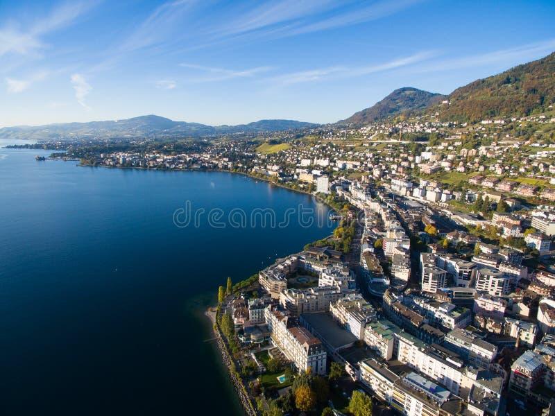 Vue aérienne de bord de mer de Montreux, Suisse photos libres de droits