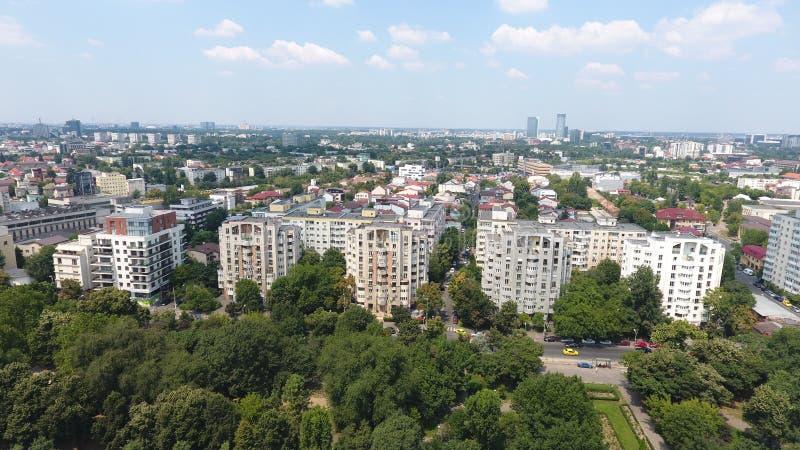 Vue aérienne de bourdon au-dessus des blocs et des arbres verts photos libres de droits