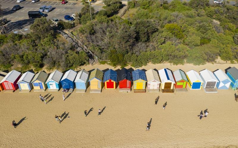 Vue aérienne de Brighton Bathing Boxes à Melbourne image stock