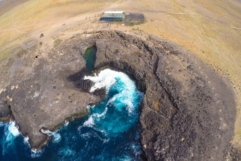 Vue aérienne de Buracona en île de sel Cap Vert - Cabo Verde images libres de droits